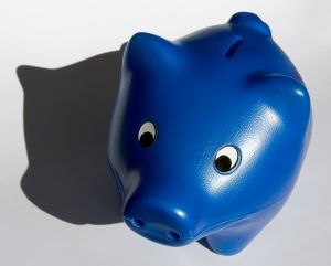 blue plastic piggy bank
